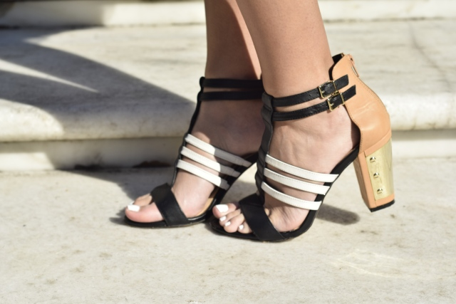 style the girl black gold white heels